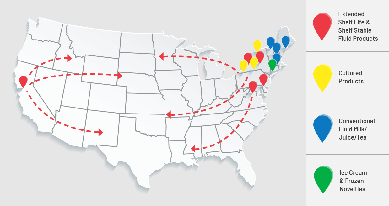 Map of HP Hood factories around the USA
